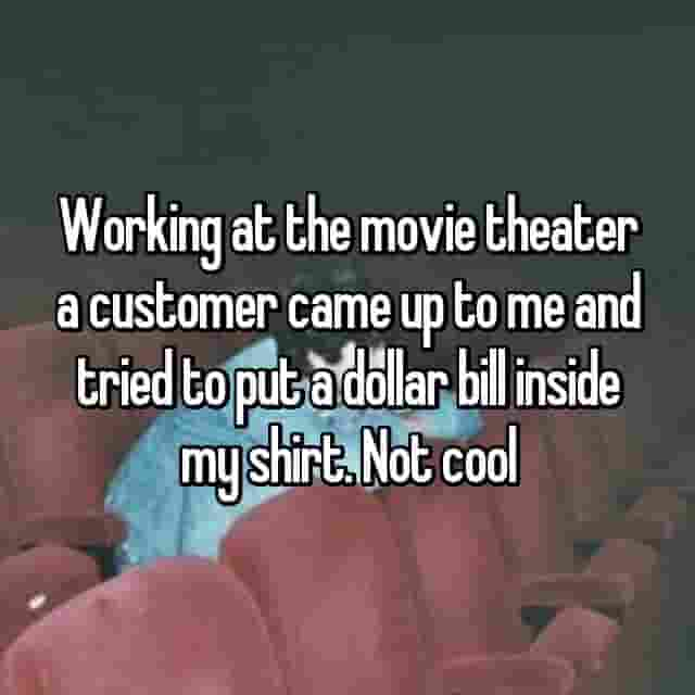 Confessions, decorum, movie theater , employees, amuse,