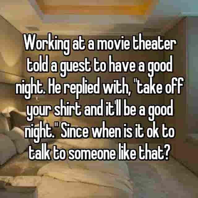 Confessions, decorum, movie theater , employees, amuse,