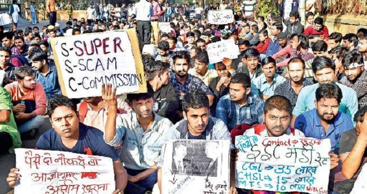 ssc, scam, protest, lathi charge, police