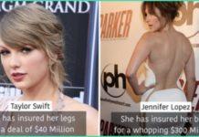 celebrities ,Insurance, Body Part, Millions,paid