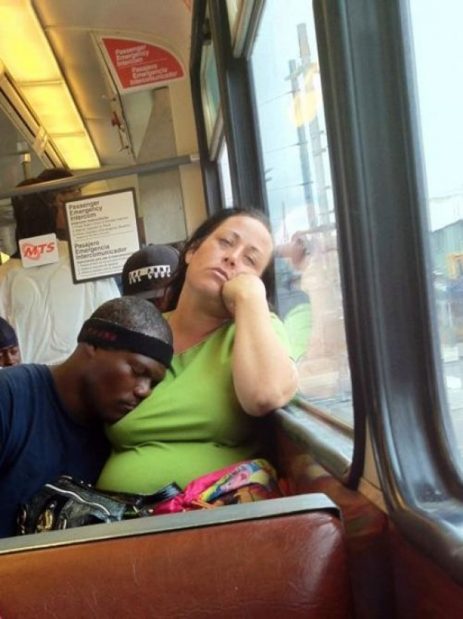 10 tired people who fell asleep in public