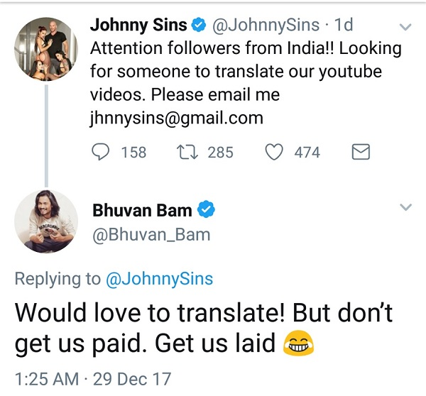 johnny sins, indians, helarious, reply, bhuvam bam, youtubers, entertainers , theemergingindia, emerging India,