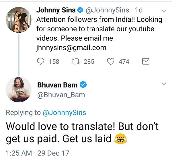 johnny sins, indians, helarious, reply, bhuvam bam, youtubers, entertainers , theemergingindia, emerging India,